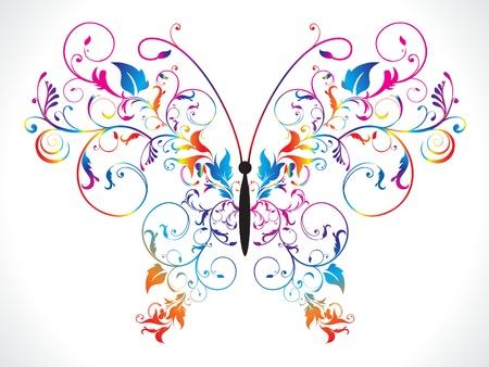 Arc-en-ciel coloré abstrait papillon floral vector illustration Banque d'images - 9940955