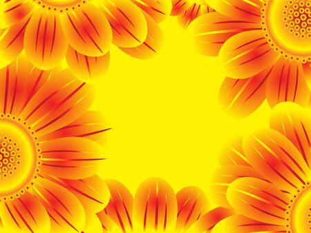 one colour: yellow blooming flower border vector illustration