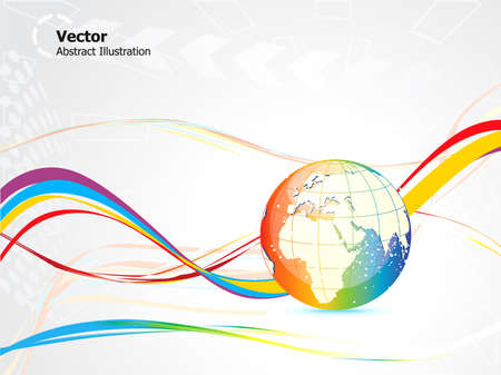 wire globe: abstract colorful globe design vector illustration