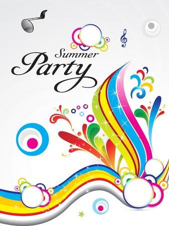 party dj: �t� abr�g� parti arri�re-plan concept vector illustration Illustration