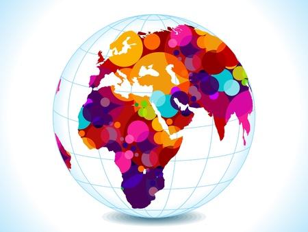 globo terraqueo: resumen de los c�rculos mundo colorido ilustraci�n vectorial