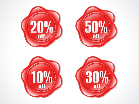 abstract red shiny plastic discount stamp vector illustration