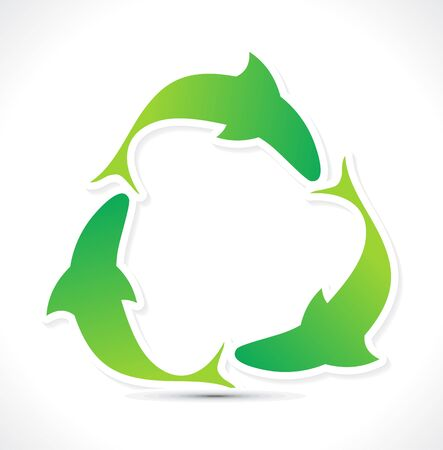 abstract green eco  fish recycle icon Stock Vector - 10729042