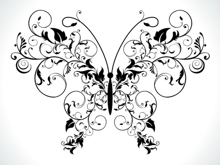 abstract black floral butterfly