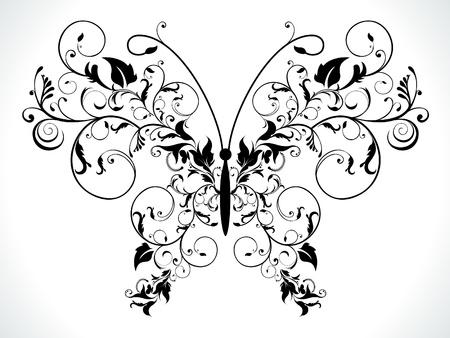 farfalla nera: astratto nero floreale farfalla