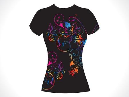 tshirt: abstract girl tshirt floral design vector illustration Illustration