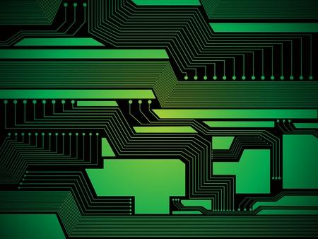memory board: Ilustraci�n de vector de dise�o abstracto chip verde brillante