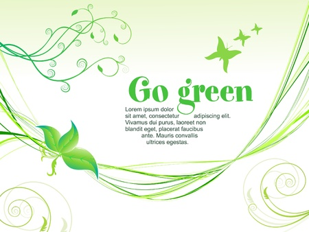 abstract green eco background with wave vector illustration Stock Vector - 9940917