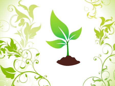 abstract green eco plant with soil  vector illustration Vector