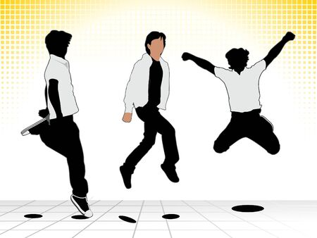 exaltation: abstract jumping boy silhouette vector illustration