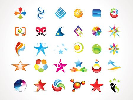 media logo: abstract multiple colorful shiny icons set vector illustration