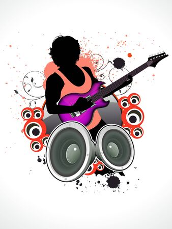 abstract music a man with guitar vector illustration Vector