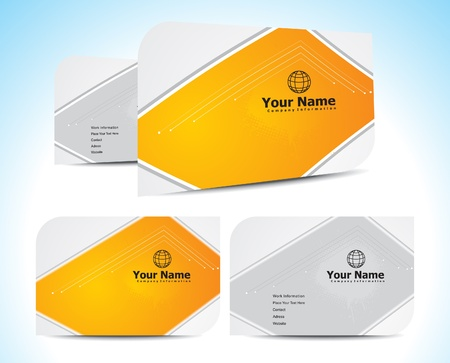abstract orange business cards template vector illustration Vector