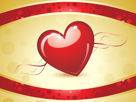 abstract red shiny heart on golden background vector illustration