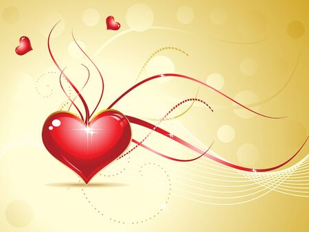 abstract red shiny heart on golden background vector illustration Vector