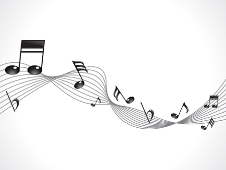 abstract musical note with wave vector illustration Vector