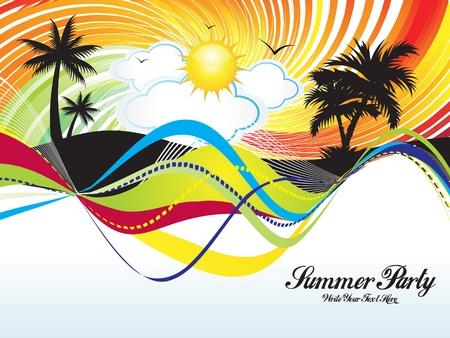 fiesta en la playa: ilustraci�n vectorial de verano parte fondo de Abstract Vectores