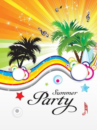 fiesta dj: Ilustración de vector verano abstracta parte tema
