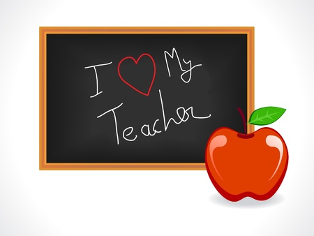 teacher day greeting with a blackboard and apple vector illustration Vector