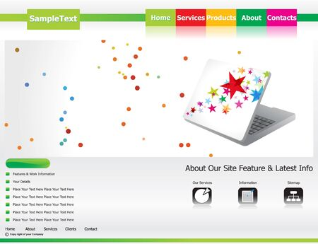 web template: abstract creative green based web template vector illustration Illustration