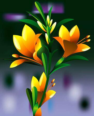 oleander: yellow oleander flower plant vector illustration