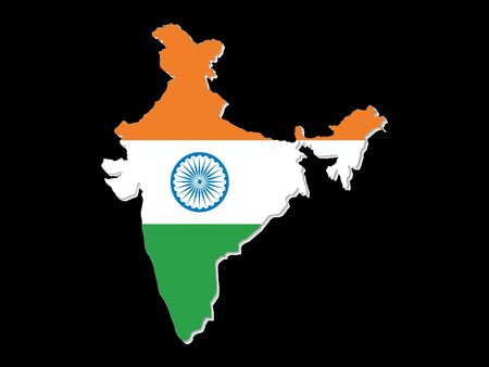 indian map with indian colorful flag vector illustration Stock Vector - 9940929