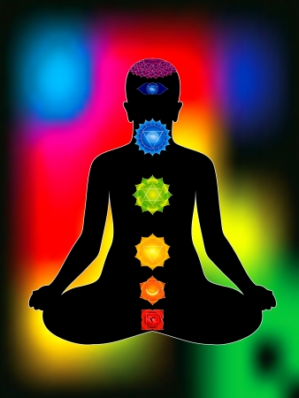 aura: colorful aura with all chakras of body vector illustration