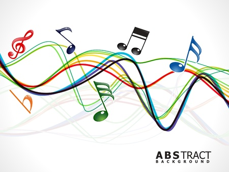abstract colorful musical line wave vector illustration Illustration