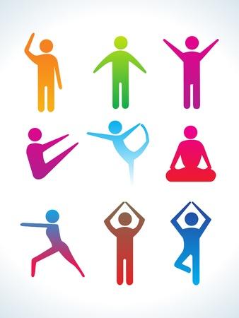 man meditating: abnstract colorful yoga people icon vector illustration
