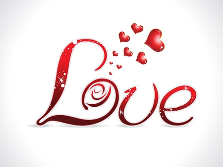 modernffection: abstract red love text design vector illustration