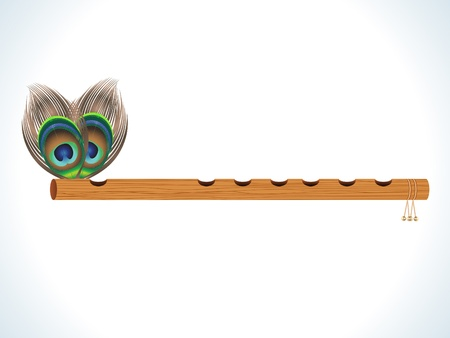 krishna: abstract wood flute with feather vector illustration