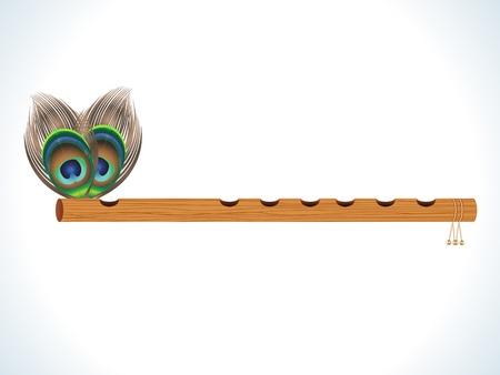 pluma de pavo real: flauta de madera abstracto con ilustración vectorial de plumas