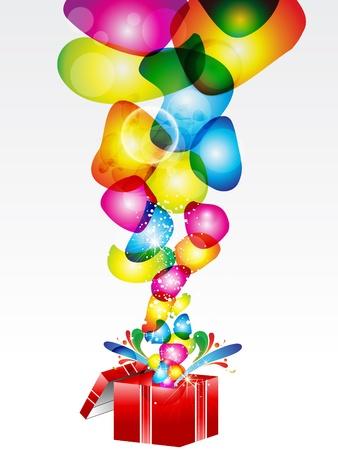 felicidad: abstracta colorida caja mágica ilustración vectorial Vectores