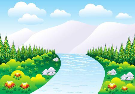 abstract detailed mountain nature scene vector illustration