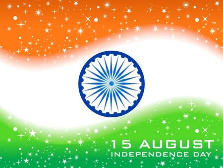 bandera de LA INDIA: Ilustración de vectores abstractos bandera de día de la independencia