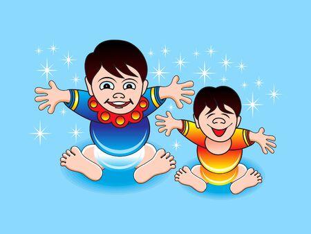 ilustration: abstract playing boys cartoon vector ilustration Illustration