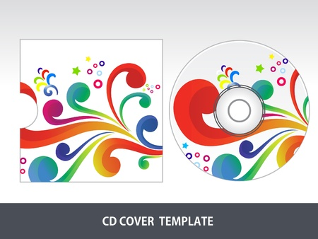 cd label: abstract colorful floral cd cover  vector illustration Illustration