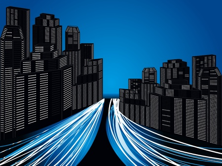 information highway: abstract futuristic city with trafic vector illustration