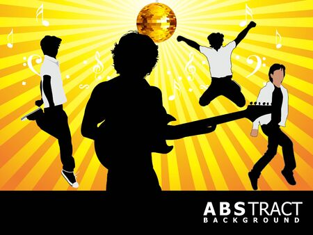 abstract musical party dancers and playing guitar vector illustration Vector