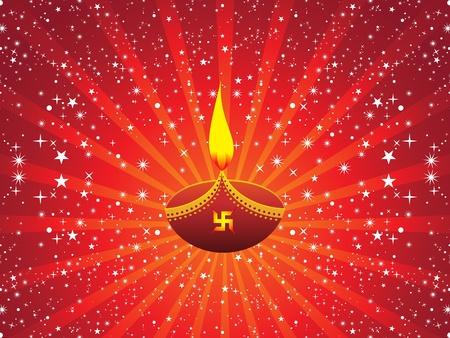 hinduismo: abstracto fondo rojo con la ilustración artística Divali