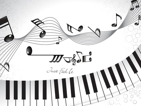 keyboard player: abstract musical background with piano  Illustration
