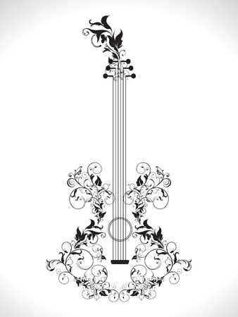 acoustic ukulele: abstract ornamental floral based guitar