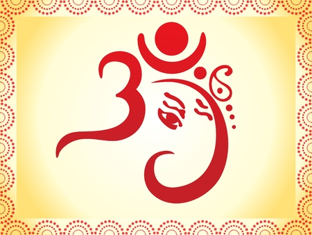 ganesha based om text artistic template illustration Vector