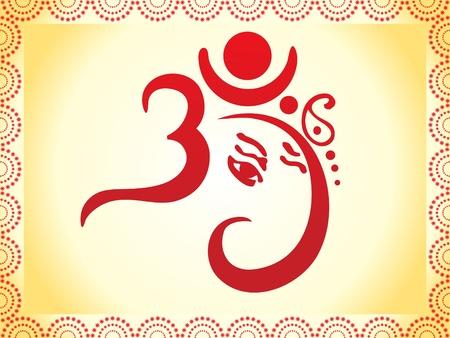 ganesh: Ganesha op basis van OM-tekst artistieke template illustratie