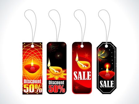 deepak: absract colorful diwali tags multiple set