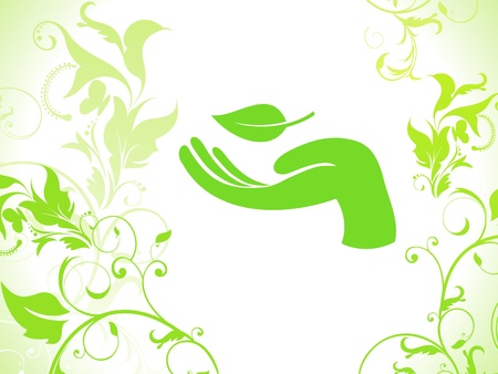 abstract eco floral hand background  Vector