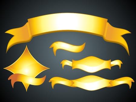 ribbon tape: abstract shiny golden banner set