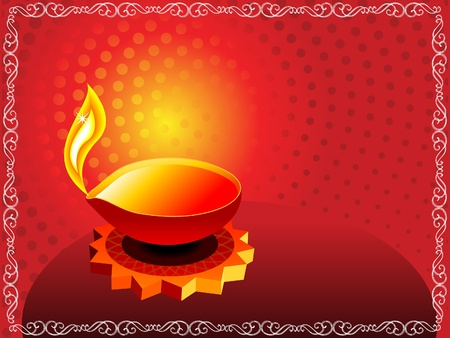 abstract artistic diwali background with border  Vector