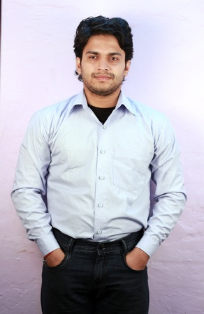 yong indian male model wearing shirt close up Stock Photo - 11287764
