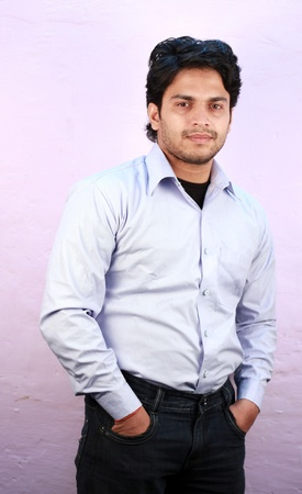 yong indian male model wearing shirt close up Stock Photo - 11287768